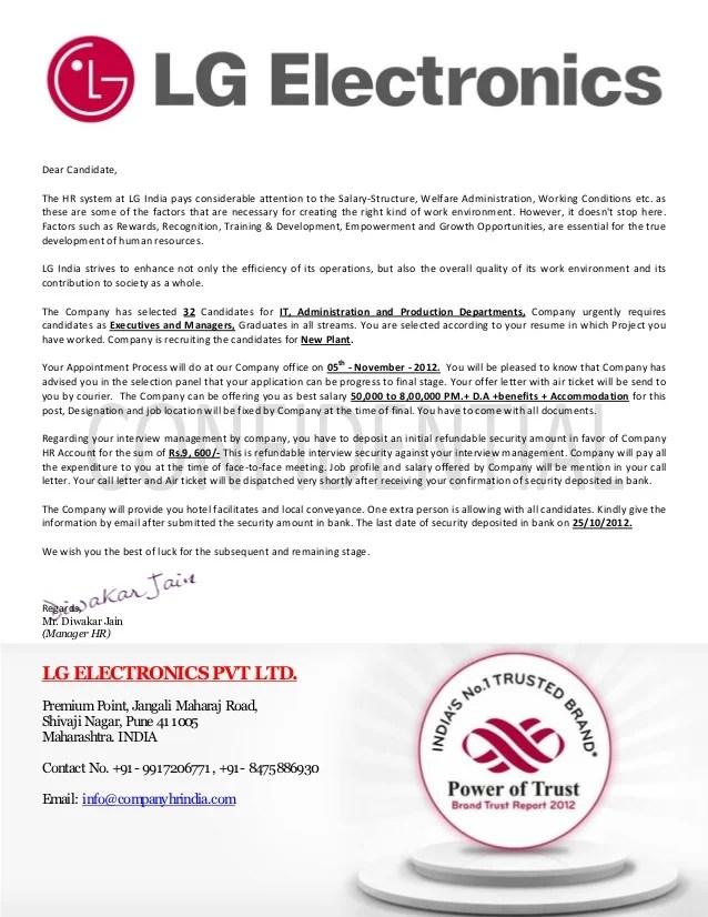 Company Offer Letter Format - Letter Format 2017