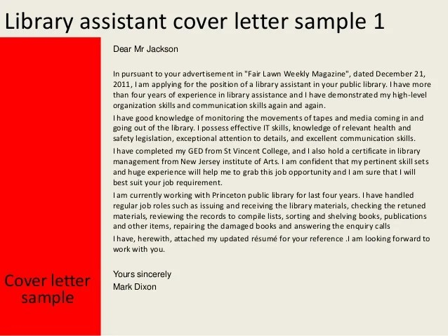 library assistant cover letter - Onwebioinnovate - library istant cover letter