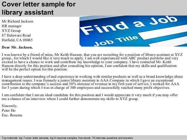letter cover letters 1001 free cover letters for library assistant