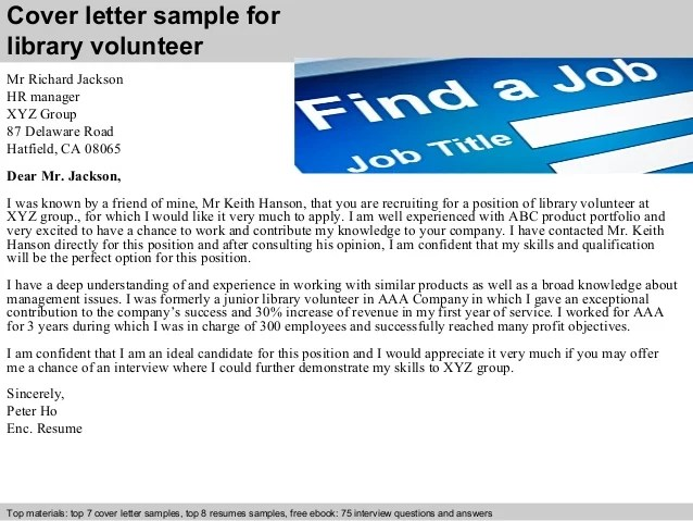 Cover Letter Volunteer Volunteer Programs Sample Cover Letter Library Volunteer Cover Letter