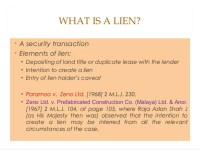 Lien and lien holder's caveat