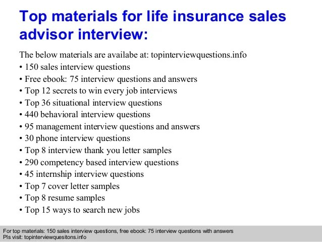A Good Sample Of Resume Bsr Resume Sample Library And More Life Insurance Sales Advisor Interview Questions And Answers