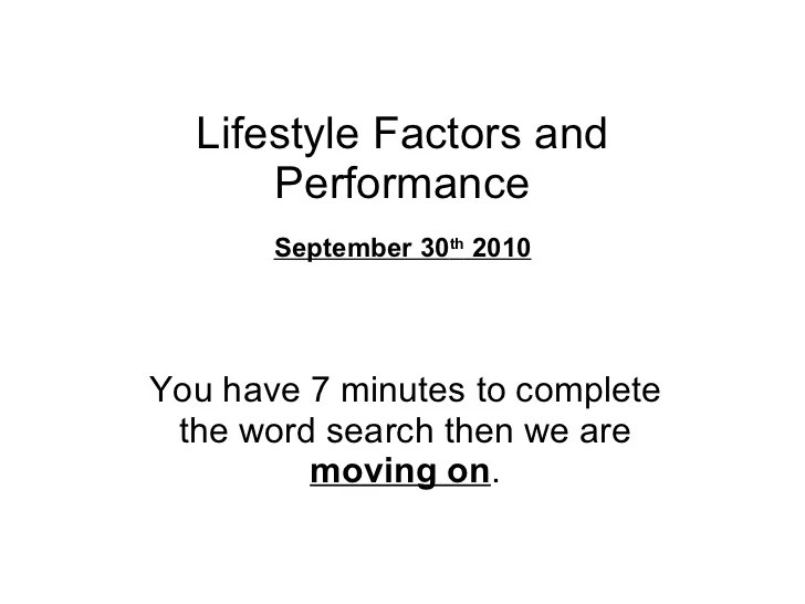Lifestyle factors and performance