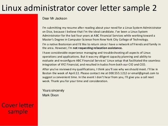 sample cover letter for linux system administrator - Selol-ink
