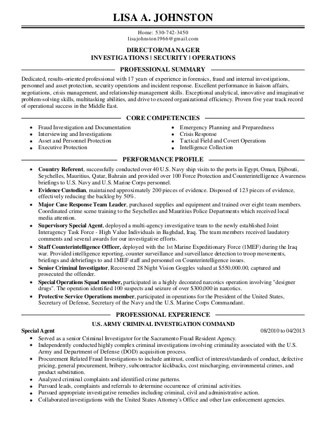 sample field investigator resume - Goalgoodwinmetals - criminal investigator sample resume