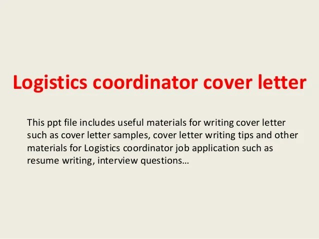 cover letter for logistics job - Josemulinohouse