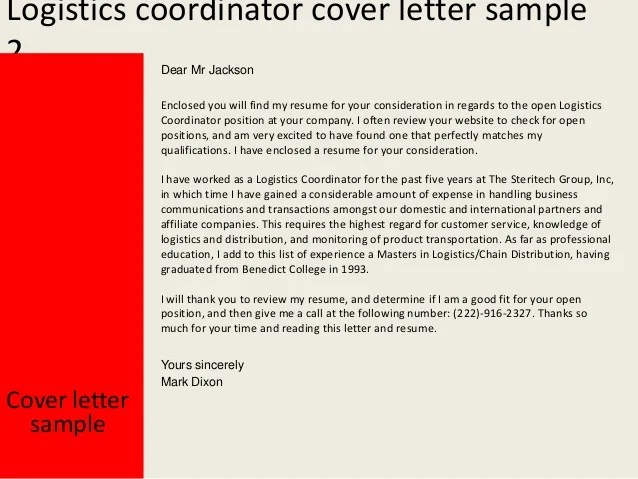 logistics specialist cover letter sample logistics coordinator cover