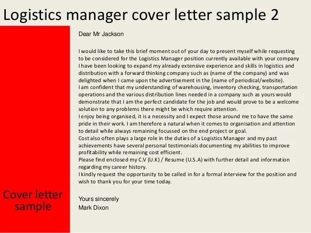 Sample Cover Letter For Logistics Job Logistics Coordinator Cover