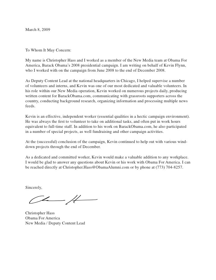 letter of recommendation for student worker