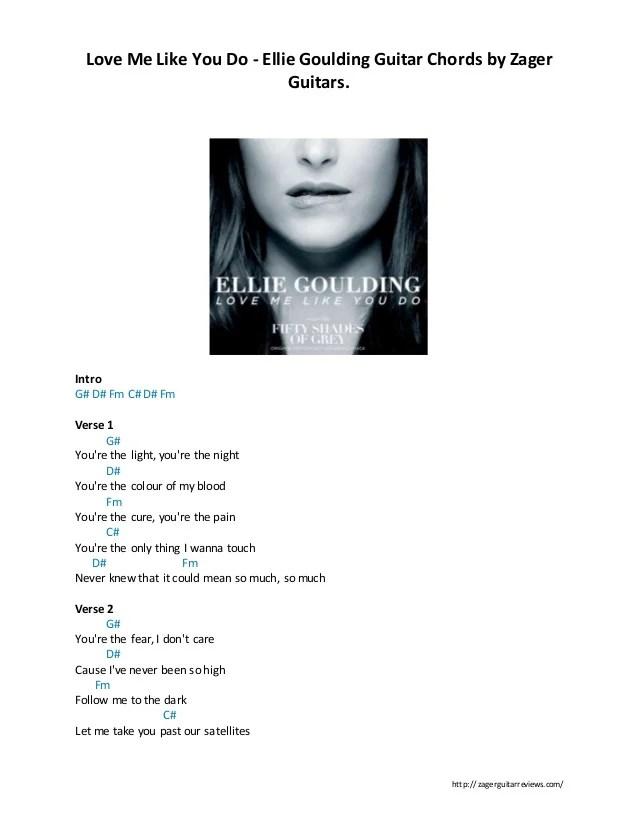 Ellie Goulding Love Me Like You Do Chords Guitar - LTT