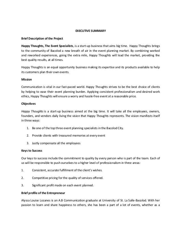 Business Proposal Sample Executive Summary