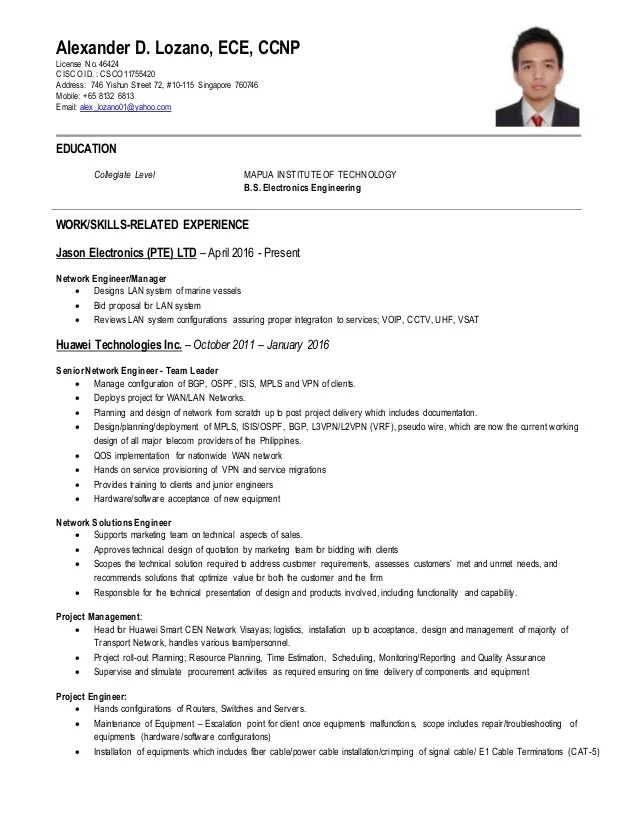 Sample Resume For Network Security Engineer