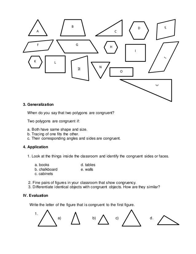 Congruent Shapes Worksheet For Grade 5 Math. Congruent