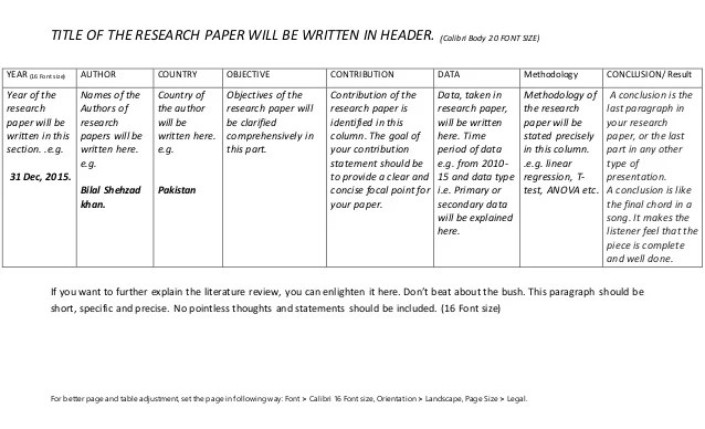 Literature Review Table How To Write A Research Paper39s
