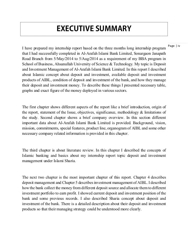 report executive summary example - Intoanysearch