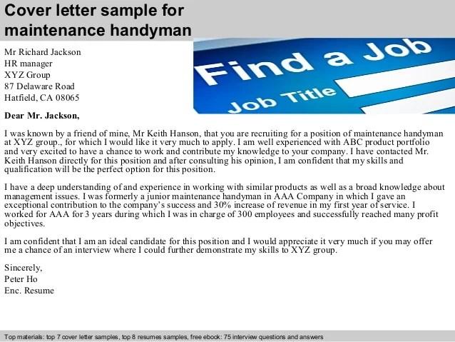 handyman cover letter - Josemulinohouse - handyman sample resume
