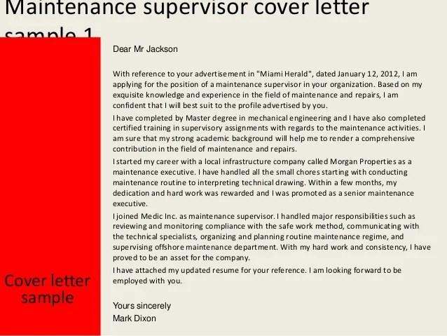 sample resume of maintenance supervisor