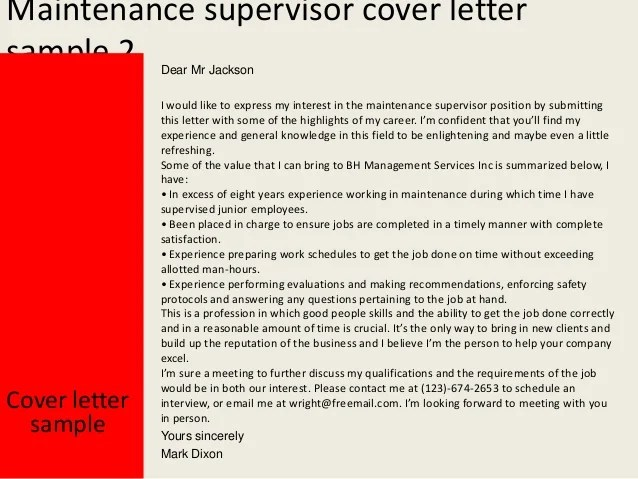 Building Maintenance Worker Resume Sample Livecareer Maintenance Supervisor Cover Letter