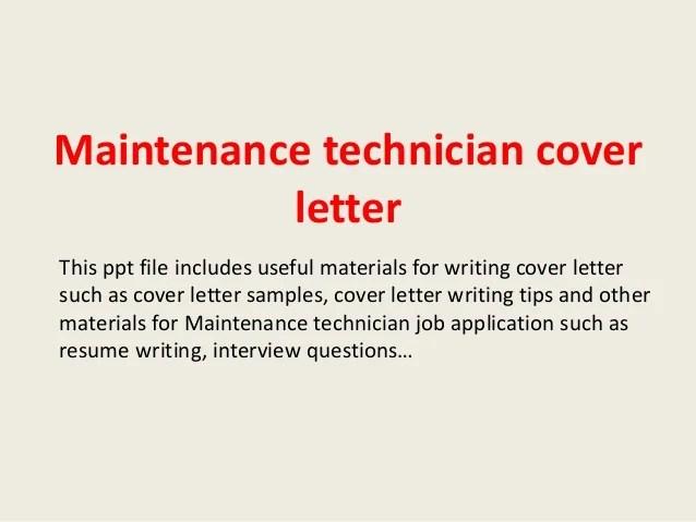 Automotive Mechanic Resume Example Sample Maintenance Technician Cover Letter