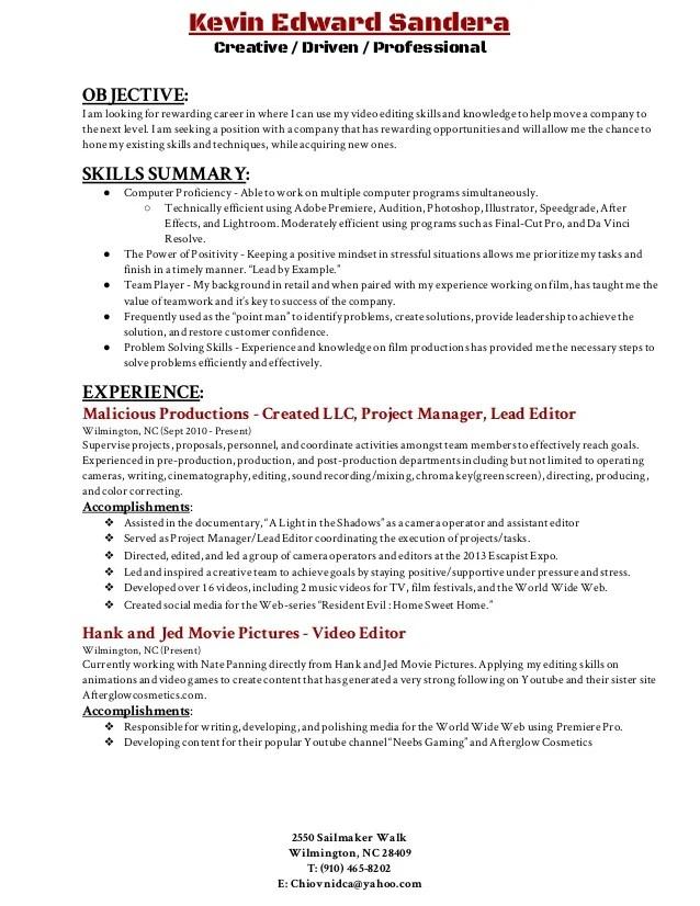 video editing resumes - Onwebioinnovate - resume editor