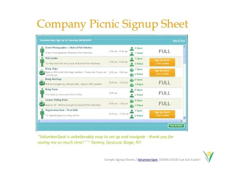picnic sign up sheet - Brucebrianwilliams - make a signup sheet