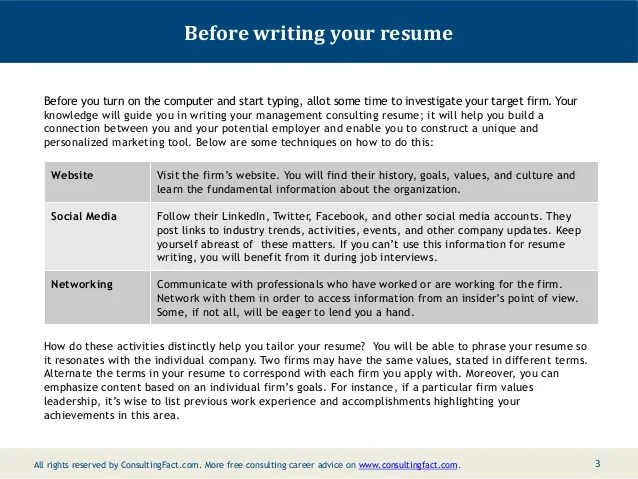 consulting resume points sample