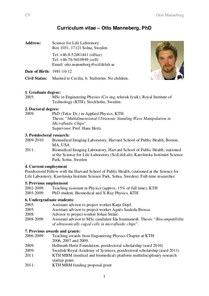 cv for phd application sample