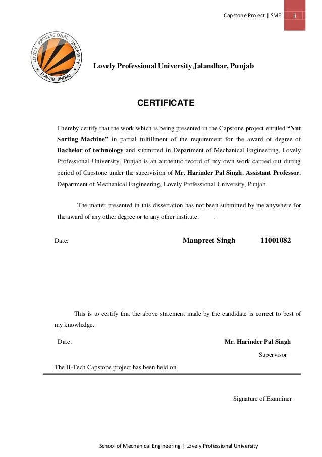 Format For A Experience Certificate Doc Download Citehr Mechanical Engineering Project