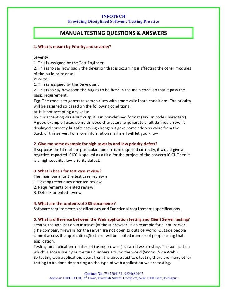 manual testing resume examples