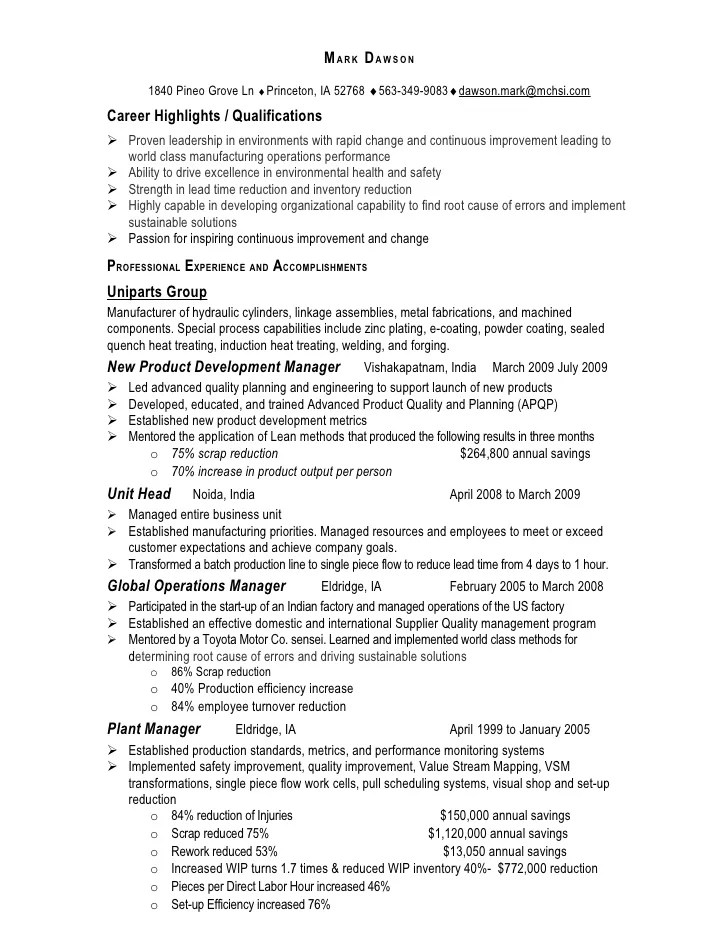 operations manager sample resume - Operations Manager Sample Resume