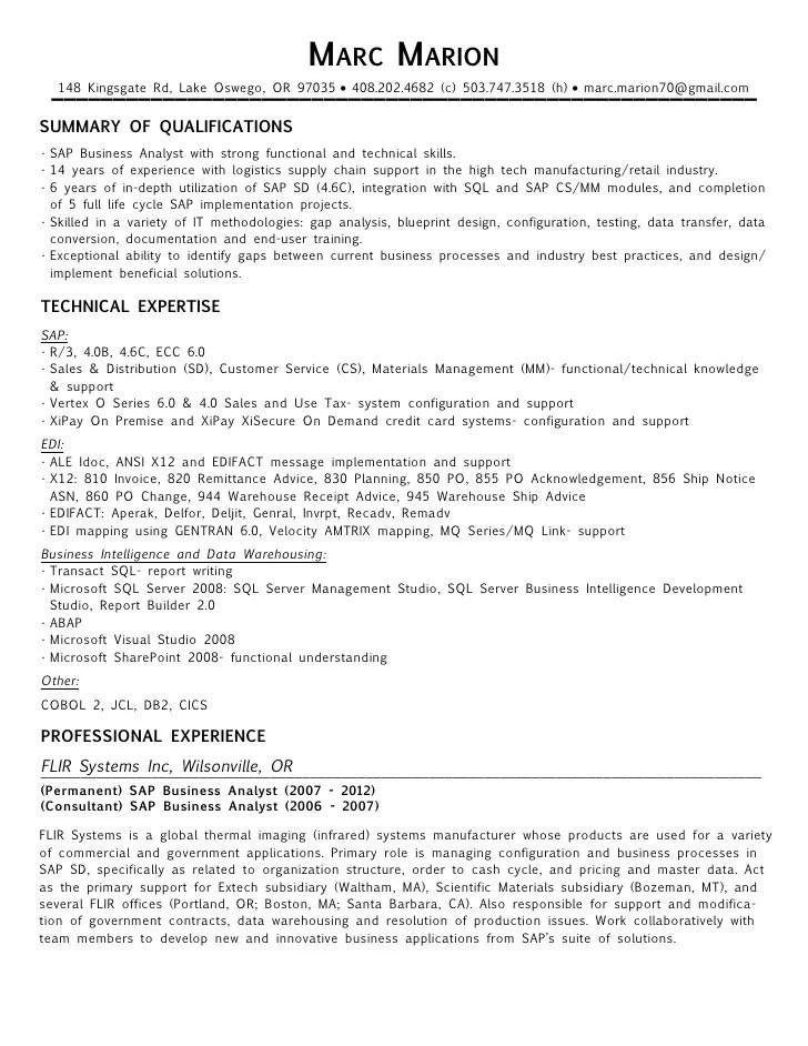 edi analyst resume sample