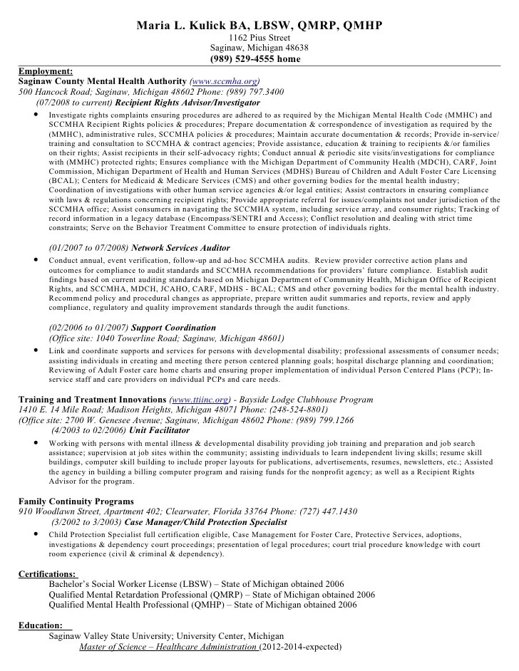 sample resume for qualified mental health professional - Mini - mental health social worker sample resume