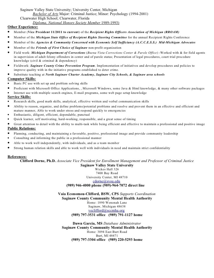 resume sample criminal justice with minor