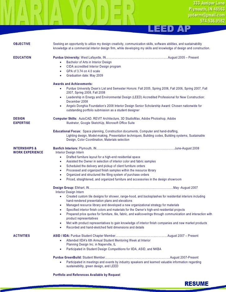 interior designer sample resume