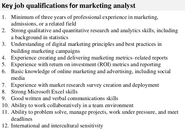 marketing analyst job description - Ozilalmanoof