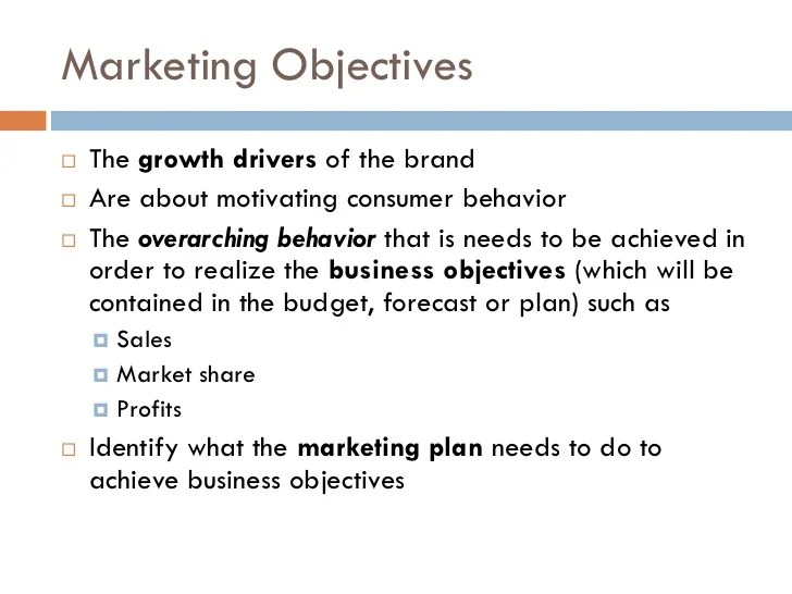 marketing objectives examples - Onwebioinnovate
