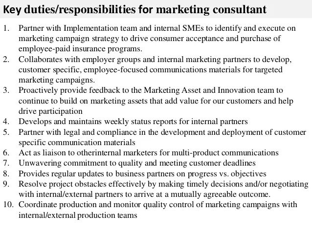 duties of a marketing consultant - Onwebioinnovate