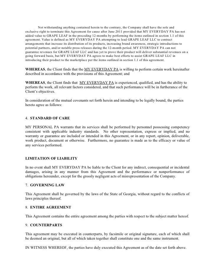 Self Employed Contract Agreement Template  Resume Maker Create