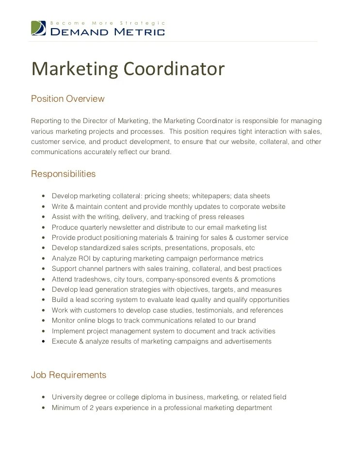 Sales Coordinator Job Description  Ex