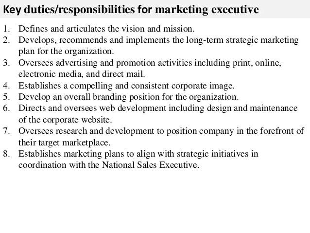 marketing executive job description - Onwebioinnovate