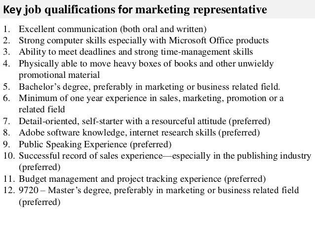 Job Descriptions Resume Examples Samples Templates Marketing Representative Job Description