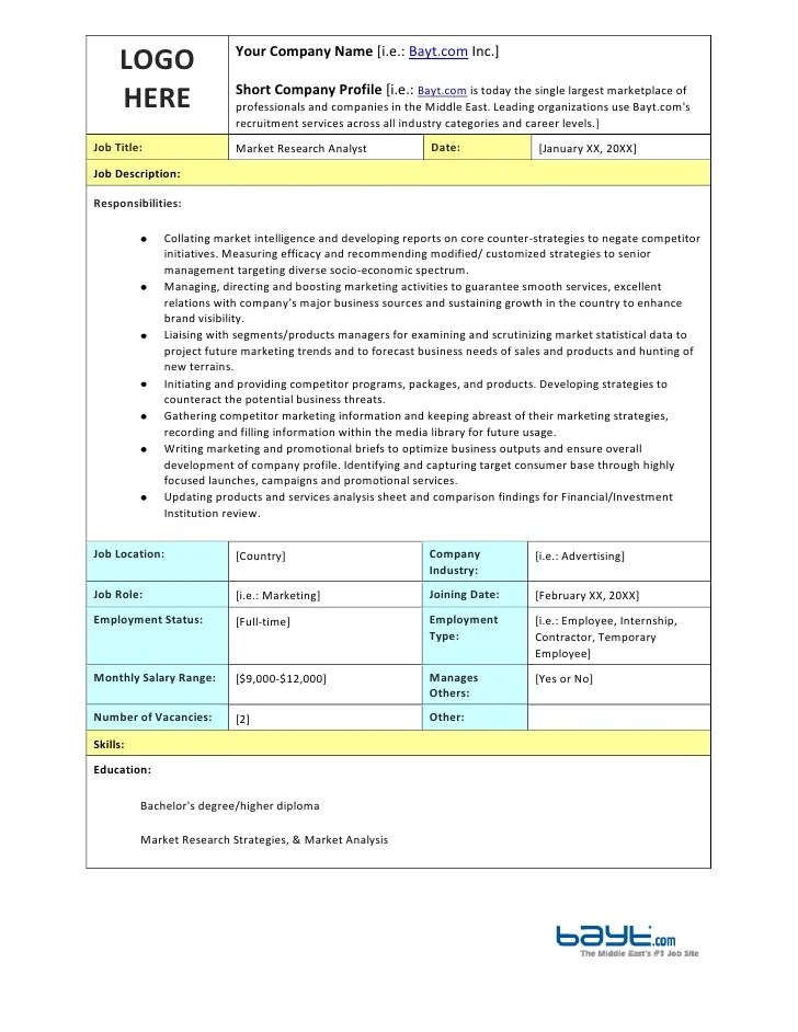 The It Business Analyst 4 Ways The Job Description Is Market Research Analyst Job Description Template By Bayt