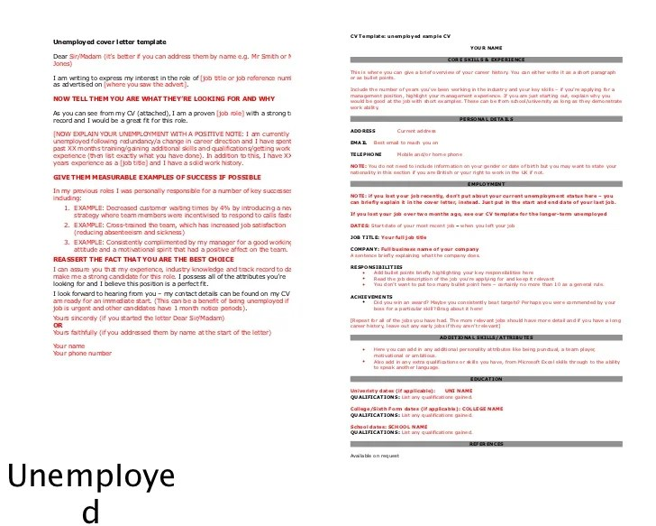 Exelent Unemployment Resume Component - Professional Resume Examples