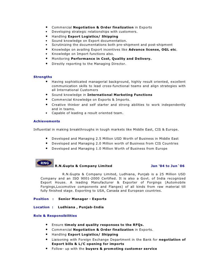 auto entrepreneur import export cv example