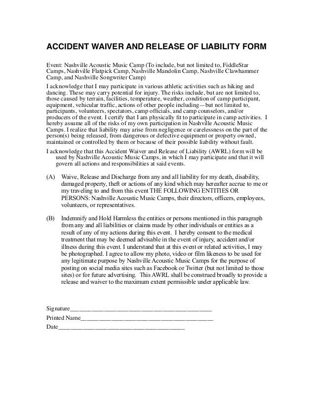 Doc400518 Release of Liability Waiver Template Release of – Release of Liability Waiver Template