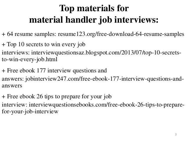 material handler resume sample - Kubrakubkireklamowe
