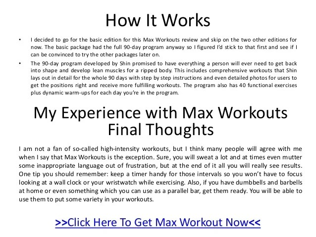 max workouts 90-day program