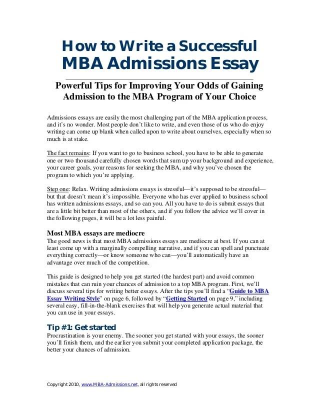 mba admission essays