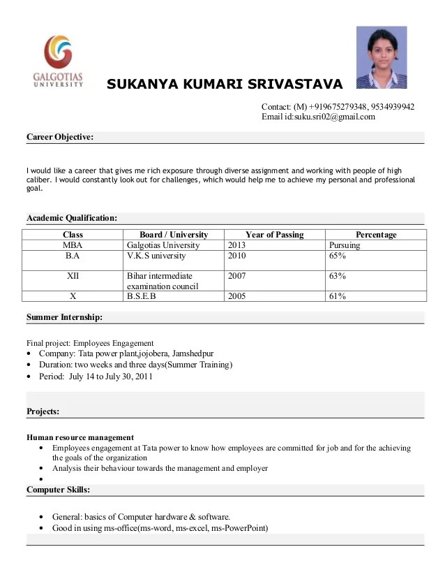 Job Resume Format Download Ms Word  Resume Format And Resume Maker