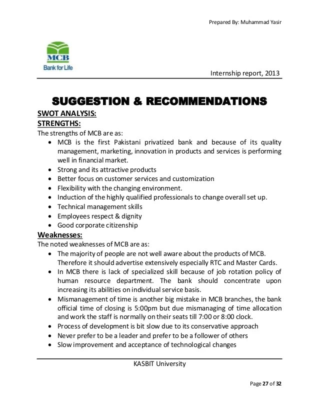 Application Letter A Letter Of Application Is As Mcb Bank Internship Report 2013